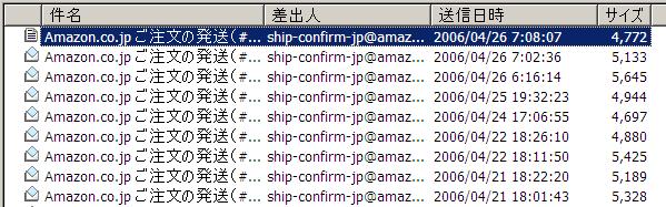 Amazon からの発送状況